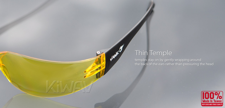 KiWAV Contemporary safety glasses VA780 black frame yellow lens
