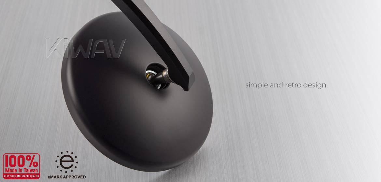 KiWAV Eclipse black motorcycle bar end mirrors universal fit
