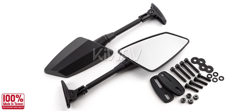 KiWAV Hawk mat black fairing mount rearview mirrors for sportsbike motorcycle Magazi