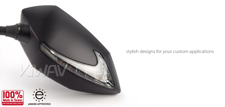 KiWAV Lucifer black LED motorcycle mirrors fit BMW