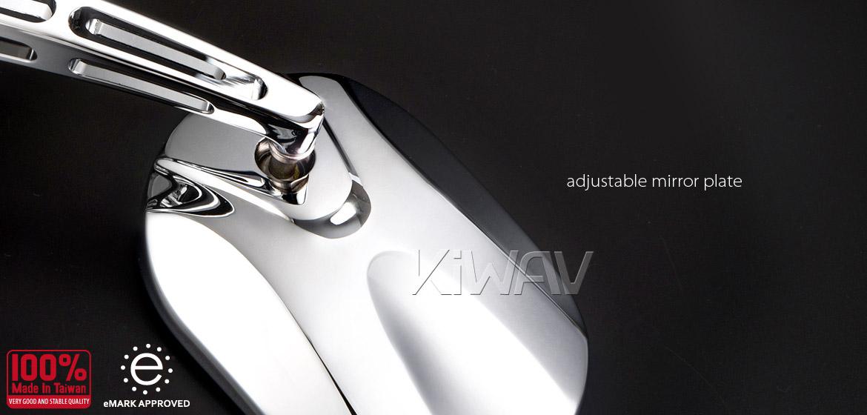 KiWAV motorcycle mirrors Stark chrome 10mm universal Magazi