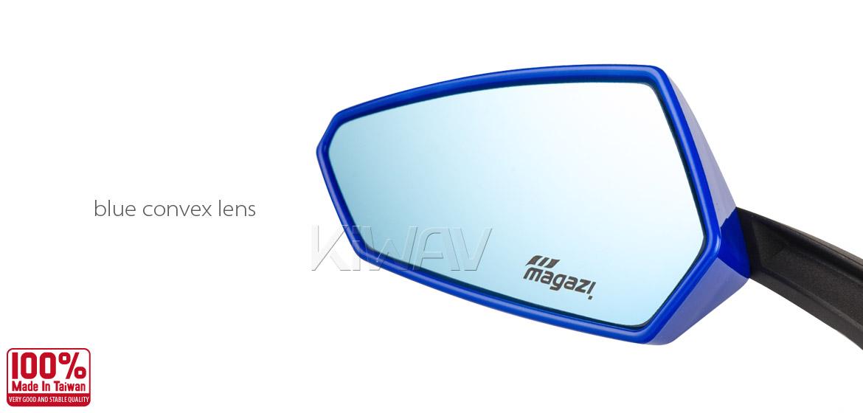 KiWAV Tulip blue motorcycle mirrors universal fit Magazi