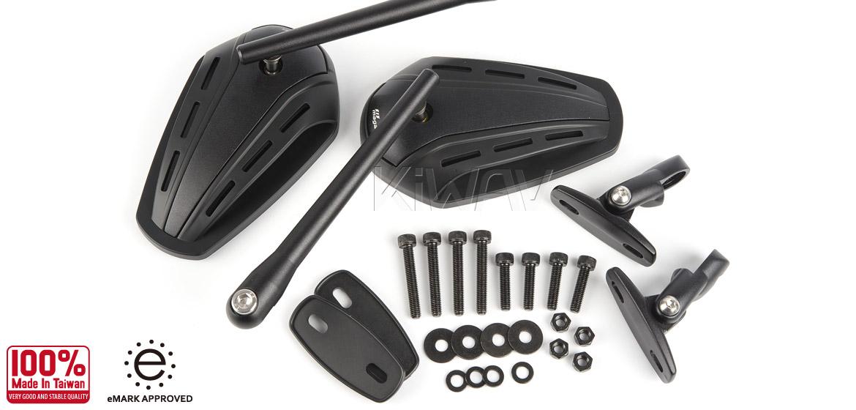 KiWAV Magazi Zipper motorcycle black mirrors CNC aluminum sportsbike with matt black adapter