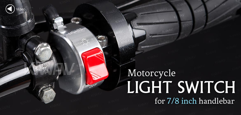 KiWAV motorcycle light switch for 7/8 inch handlebar