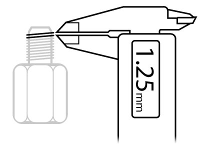 Use a vernier caliper to measure the size of a bolt thread