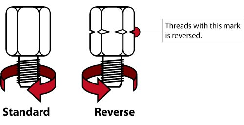 A reversed/anti-clockwise thread and a standard/clockwise thread