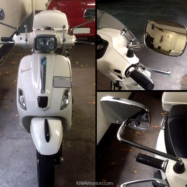 Vespa S with KiWAV FA265 Mirrors